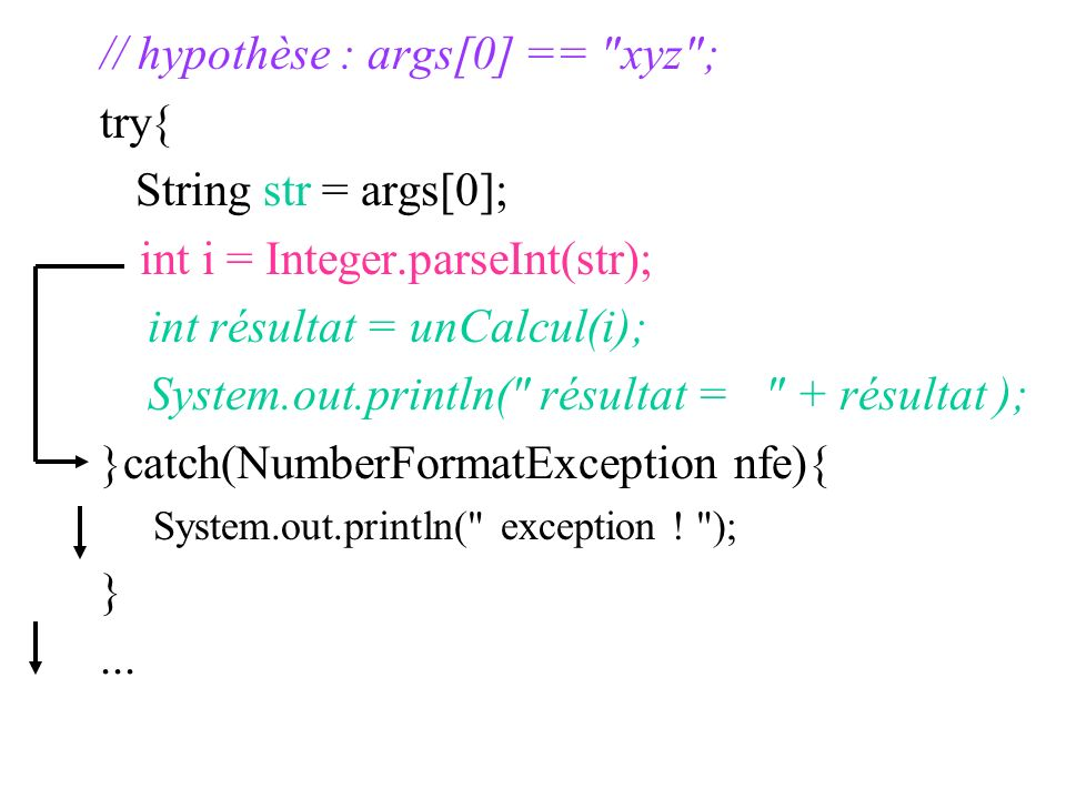 // hypothèse : args[0] == xyz ; try{ String str = args[0];